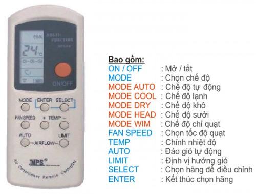 Thông số trên Remote máy lạnh đa năng