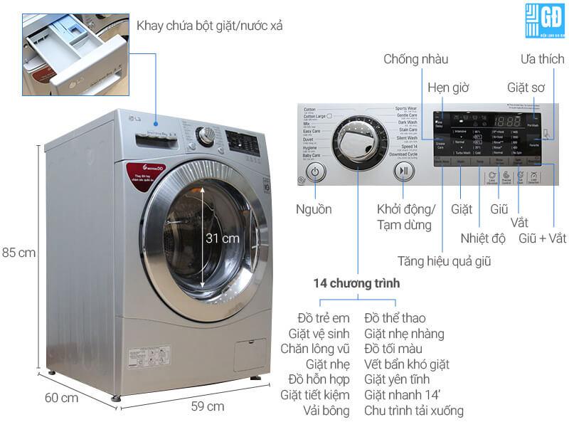 Cấu tạo máy giặt LG cửa ngang